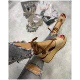 Hop Hop ženske sandale sa učkurom na platformu - bež/smeđe  cene
