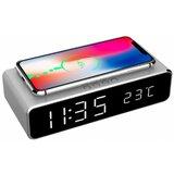 Gembird DAC-WPC-01-S digitalni sat + alarm sa bezicnim punjenjem telefona, silver  cene