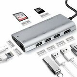 Linkom TIP C na HDMI+3xUSB3.0+SD+RJ45+TIP C usb hub  Cene