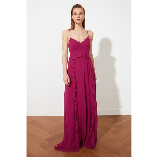 Trendyol Fuchsia Flywheel Šifon Večernja haljina & Maturantska haljina tamnocrvena  Cene