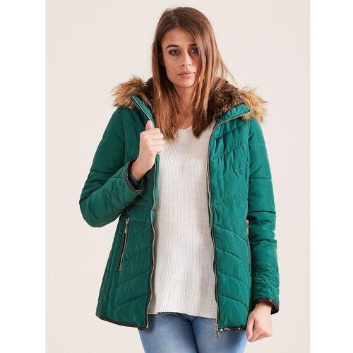 Fashionhunters Zelena prošivena zimska jakna sa krznenom kapuljačom tirkiz | zelena | krem  Cene
