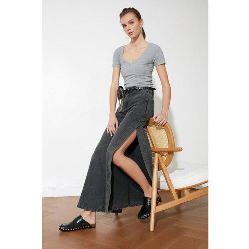 Trendyol Traperice širokih nogavica visokog struka sive boje antracita  Cene