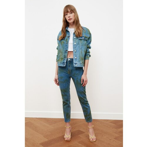 Trendyol Plavi Batik Wash Mom Jeans s visokim strukom plave boje  Cene