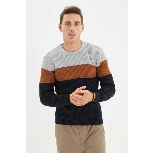 Trendyol Tamnoplavi muški džemper s tankim krojem s izrezom s izrezom  Cene