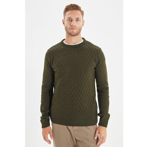 Trendyol Khaki muški pleteni džemper s tankim krojem s tankim krojem i teksturom  Cene