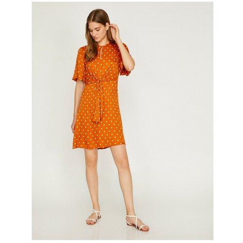 Koton Ženska narančasta bijela mini haljina s izrezom  Cene