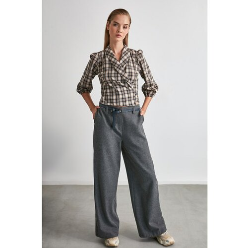 Trendyol Sive široke pantalone od antracita  Cene