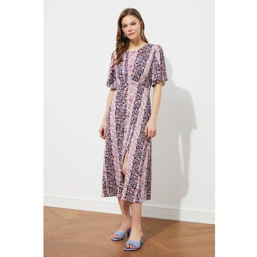 Trendyol Višebojna pletena haljina s cvjetnim uzorkom Siva | tamnocrvena | roza | Fuksija  Cene