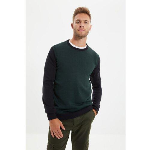 Trendyol Tamnozeleni muški tanki pleteni džemper s tankim krojem s ovratnikom i prugom  Cene