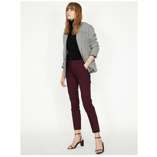 Koton Ženske tamnocrvene crne uske hlače s tankim krojem  Cene