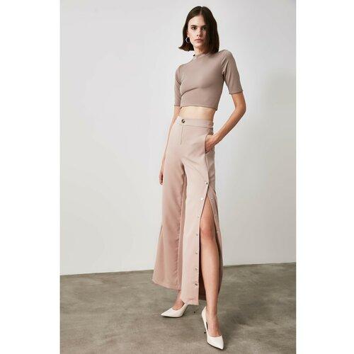 Trendyol Ženske hlače Dugme detaljno smeđe   krema  Cene