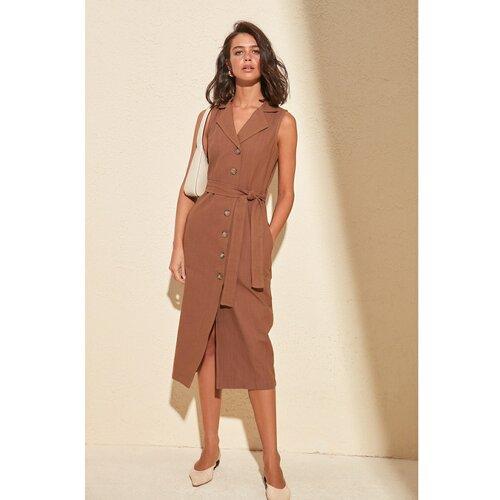 Trendyol Ženska haljina Pojas detaljno smeđe boje  Cene