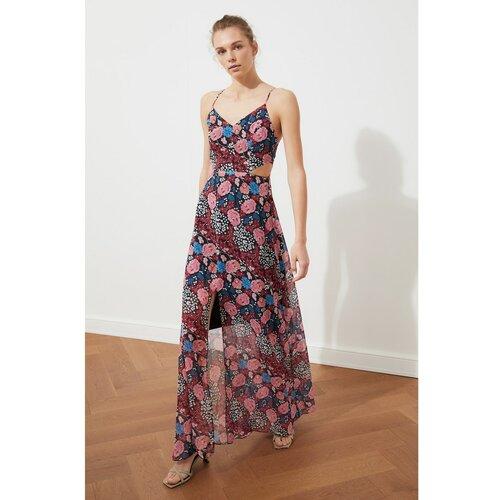Trendyol haljina s cvjetnim uzorkom s tamnoplavim prorezom s detaljima  Cene