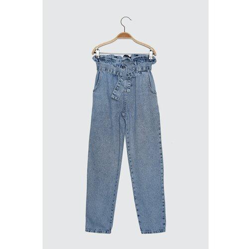 Trendyol plavi remen s strukom Burly Mom Jeans  Cene