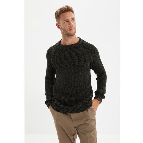 Trendyol Khaki muški džemper regularnog kroja s muškim vratom Slike