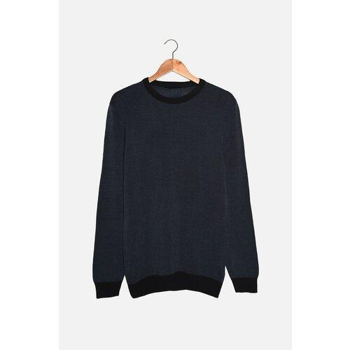 Trendyol Tamnoplavi muški tanki džemper s tankim krojem s tankom garniturom i kontrastnom bojom  Cene