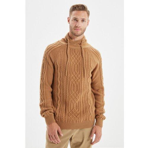 Trendyol Camel Men Slim Fit šal ovratnik kosa pletenje pletenina džemper  Cene