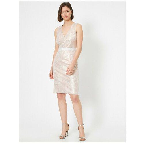 Koton ženska midi djevojačka haljina s V-izrezom i metalnim uzorkom bez rukava  Cene