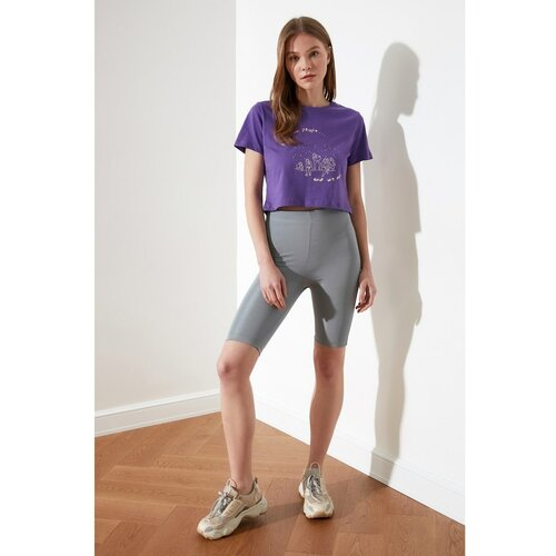 Trendyol Ženske kratke hlače Bikerske hlače sive boje ljubičasta  Cene