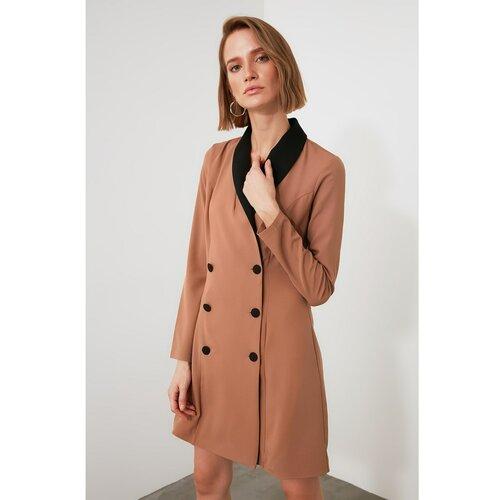 Trendyol Camel Collar Detaljna jakna Haljina braon  Cene