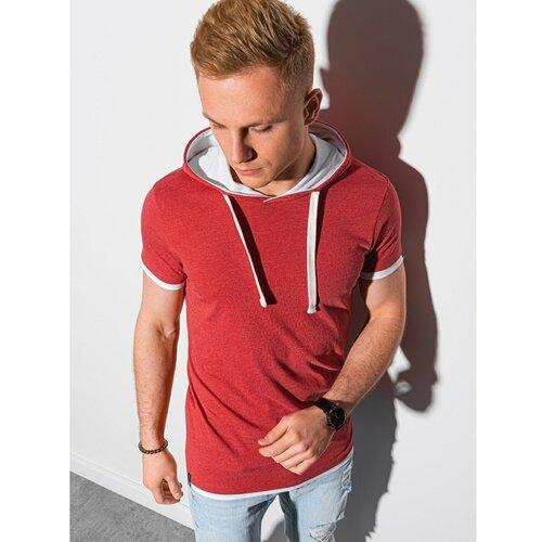 Ombre Muška majica kratkih rukava S1376 siva | tamnocrvena | Fuksija  Cene