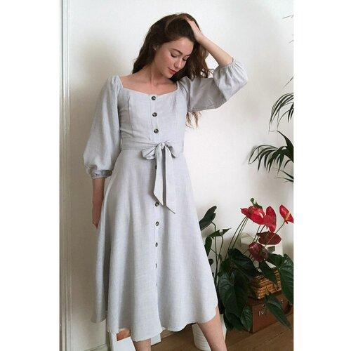 Trendyol Ženska haljina Pojas detaljno siva smeđa  Cene