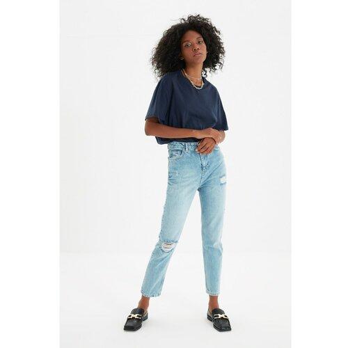 Trendyol Plave razderane majčke traperice s visokim strukom i detaljnim opisom  Cene
