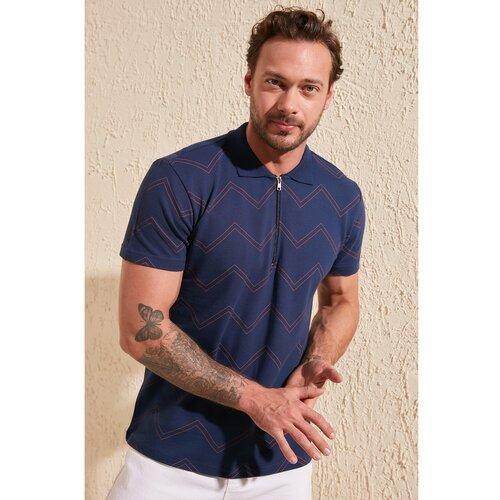 Trendyol mornarsko plava muška regularna majica s kratkim rukavom i patentnim zatvaračem  Cene