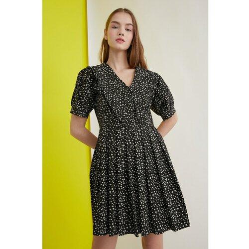 Trendyol Cvjetna haljina S crnim ovratnikom Detalj crna | krem  Cene