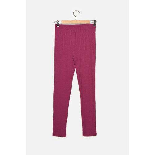 Trendyol Pletene hlače s rebrastom ljubičastom bojom  Cene