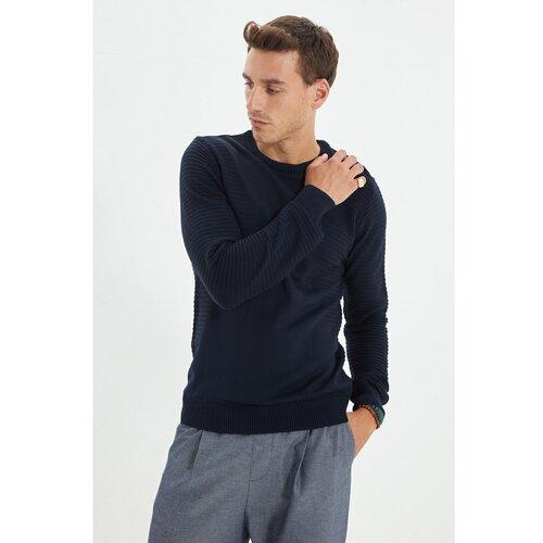 Trendyol Tamnoplavi muški džemper s tankim krojem s tankim krojem i teksturom Slike