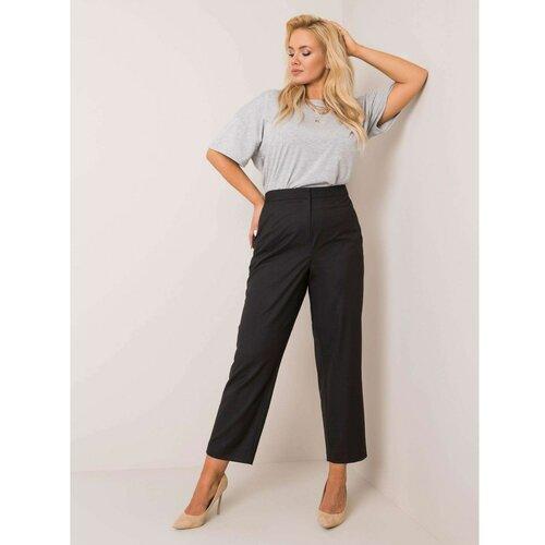 Fashionhunters RUE PARIS Crne tkanine pantalone plus veličina  Cene