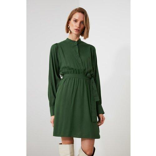 Trendyol Green BeltEd Sheer Deckline Haljina zelena  Cene