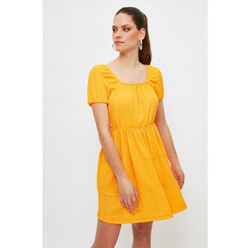 Trendyol Narančasta pletena haljina s kvadratnim vratom narandžasta  Cene