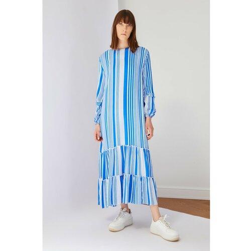 Trendyol Sax prugasta haljina od viskoze  Cene