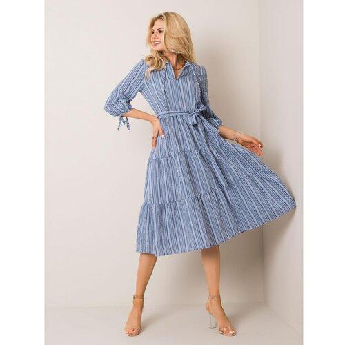 Fashionhunters Plava haljina na pruge  Cene