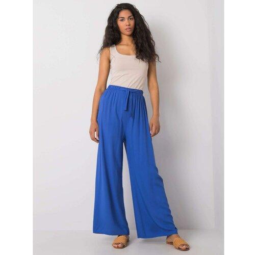 Fashionhunters RUE PARIS Pantalone od plave tkanine  Cene