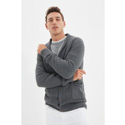 Trendyol Sivi muški ovratnik s maramom Slim Fit pleteni kardigan  Cene