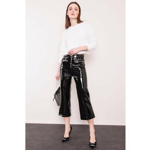 Fashionhunters BSL Crne hlače od lakirane kože bijela | siva  Cene