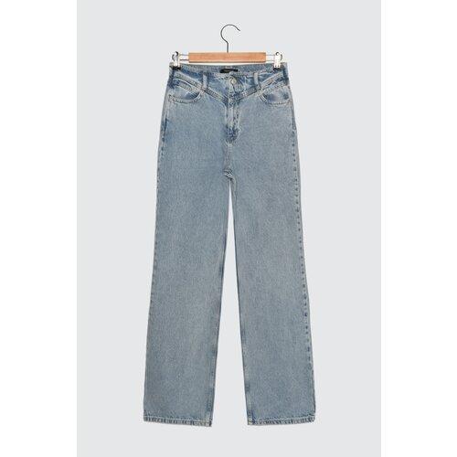 Trendyol plave boje struka sa visokim strukom 90 -ih godina široke traperice  Cene