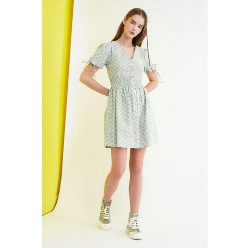 Trendyol Mint Floral Print Button dress siva  Cene