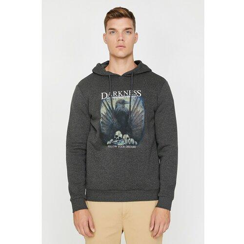 Koton Muška siva dukserica s kapuljačom sa sivim printom  Cene