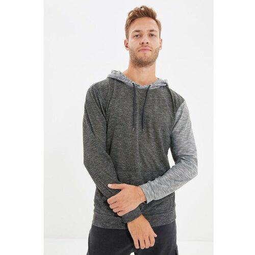 Trendyol Antracit Muška dukserica s dugim rukavima i kapuljačama regularnog oblika  Cene