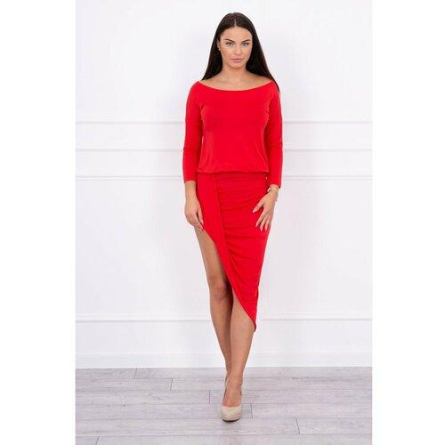 Kesi Asimetrična haljina, crvena crvena sa 3/4 rukavom  Cene