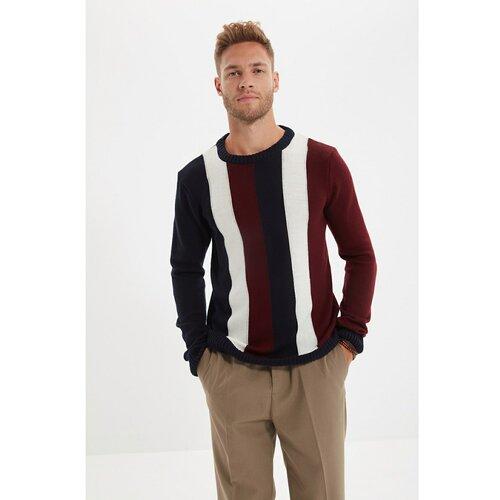 Trendyol Tamnoplavi muški pleteni džemper s tankim krojem s ovratnikom i prugom  Cene