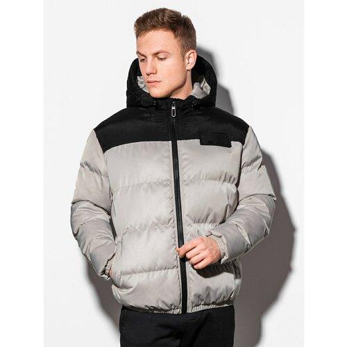 Ombre Odjeća Muška zimska prošivena jakna C458 crna | siva  Cene