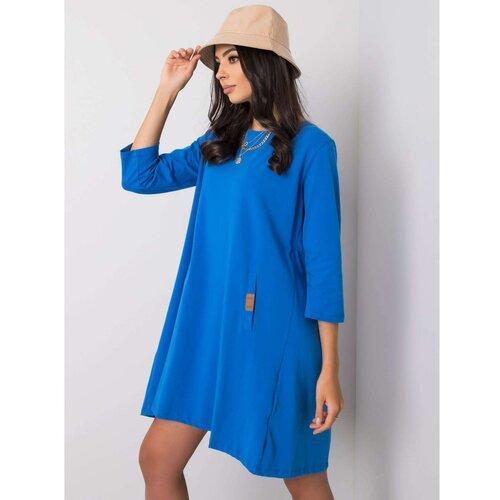 Fashionhunters Ženska haljina Labavo crna svijetlo plavo  Cene