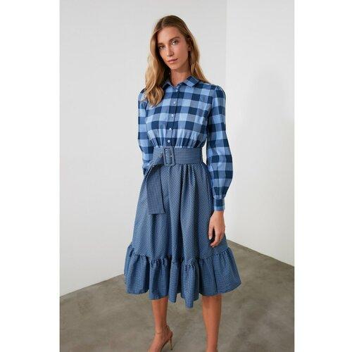 Trendyol Ženska haljina za remen Crna plava | svijetlo plavo  Cene