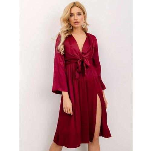 Fashionhunters Plisirana haljina BSL bordo  Cene