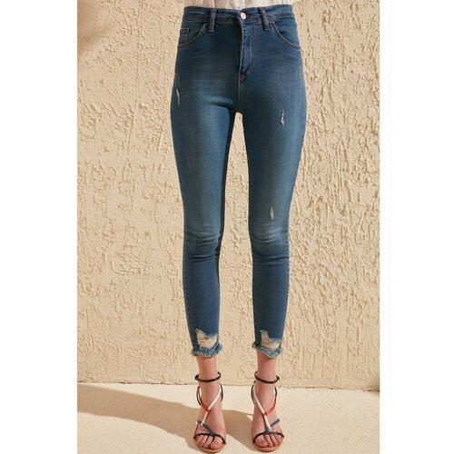 Trendyol Ženske farmerke Skinny jeans plava | krem  Cene